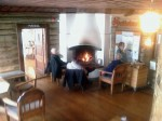 Day 85. The cosy foyer of the 100 year old timber Saltoluokta lodge
