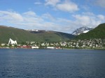 Day 174.1 Looking from Tromso on the Island to Tromsdalen on the mainland where the campsite is