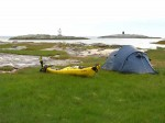 Day 182.1 The camp art Buvag on the edge of the sandy bay with skerries guarding the entrance