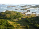 Day 194.3 Looking from thge hole in Torghatten down onto the old farm and the skerries and Islets typical of Helgelandskyst
