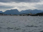 Day 210.2 The town of Alesund lies on a peninsula in the fjord surrounded by the Sunnmoresalpene mountains