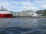 Day 221.2 An offshore supply boat and a cruise ship were just a small selection of the ships around the busy Bergen harbour