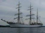 Day 222.1 The magnificent Statsraad Lehmkuhl sailing boat by the town of Sund
