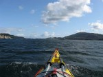 Day 225.3 Paddling south down Forresfjord with Vestre and Austre Bokn islands in the distance on the right and left respectively