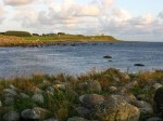 Day 229.6 The view from my camp at Hatangen over the Haana river estuary and on to Obrestad Fyr lighthouse