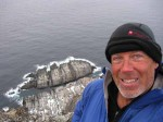 James Baxter at Kinnarodden, the most northerly point of mainland Europe, after 2700 km on skis