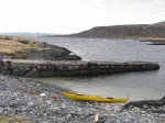 147.4 A rest in the shelter of the small harbour at Omgang after crossing Tanafjord