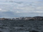 147.6 Looking backdown into the windy Koifjord from the sheltered entrance to Gamvik harbour