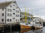 Day 145.1 Older style fishing boats and a wharf in Berlevag harbour