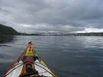 Day 172.2 Approaching Tromso with the main town on the island on the left and the white Ishavetskatedral above the bow